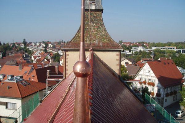 Kirchturmdachspitze der evangelischen Kirche in Korb